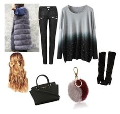 """""""Winter Long Fur Vest"""" by cristian-livia-badea on Polyvore featuring Dorothy Perkins, MICHAEL Michael Kors, Hershesons and Salvatore Ferragamo"""