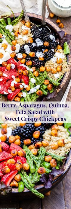 Berry, Asparagus, Quinoa and Feta Salad with Sweet Crispy Chickpeas is bursting with spring produce and topped with the most addicting sweet, crispy, maple cinnamon roasted chickpeas! It's perfect to make any day of the week and beautiful enough for company. It's sure to become a new favorite!