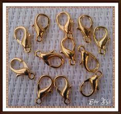 n.20 Ganci 12 mm. Moschettone colore Gold  Cod.037 di Etno Style 2 su DaWanda.com