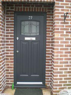 Newark Lantern Rockdoor Number on top of door Front Door Porch, Grey Front Doors, Porch Doors, Exterior Front Doors, House Front Door, Entrance Doors, Windows And Doors, Front Porches, Garage Doors