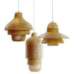 Luminaire - Suspensions - Hanoi pendant lamp / Ø 60 XH 41 cm - Pop Corn - Bamboo - Bamboo Light Em Up, Light Art, Lamp Light, Bamboo Light, Bamboo Art, Hanging Lights, String Lights, Ceiling Lights, Eindhoven
