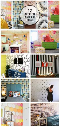 12 of the BEST Creative Wall Art Ideas to create the perfect statement wall. DIY projects using paint, wood, stencils, fabric, and more!