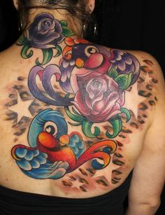 rose , flower , color tattoo , leopard print , sparrow , bird ,color tattoo | Kristel Oreto -Tattoo Artist- Philadelphia, PA