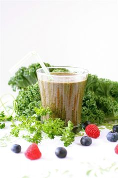 Green smoothie - parsley, kale, berries, banana, and flax seed