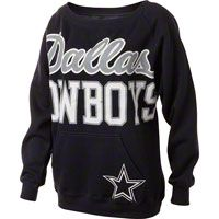 Dallas Cowboys Women's Navy Open Neck Joy Crew Sweatshirt