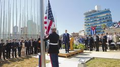 John Kerry, the first US Secretary of State to visit Cuba in 70 years, presided over the ceremony in Havana. The US flag was presented by the same US marines who brought it down in 1961. Mr Kerry said the US administration wanted to lift the trade embargo on the island - something that the Republican-controlled US Congress has blocked.