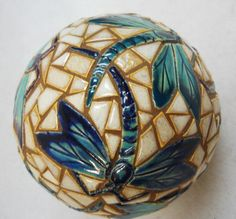DRAGON FLY Mosaic Art Accent Ball Handmade by HouseofWhisperingFir, $60.00.  Unique concept and techniques here.