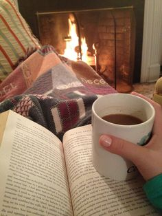A fire, blanket, hot chocolate, and book. Ah.