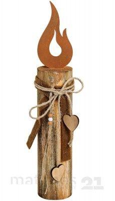 Holzpfahl mit Metall Kerzenflamme & dekorativer Schleife Holz-Deko 8x8x44 cm