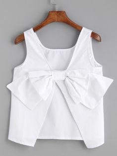 Shop White Bow Embellished Open Back Tank Top online.