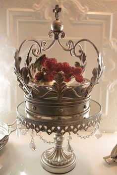 Metal vintage chic crown candle holder planter by glitznstuff, $35.00