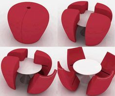 Asiento que se transforma en mesita de centro y 4 sillas.  #muebles #diseño