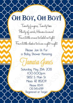 Twin Boys Baby Shower Invitation Navy by SassyGraphicsDesigns