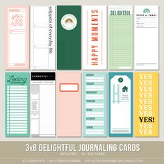 This set of everyday themed digital journaling cards is perfect for pocket page protectors, scrapbooking and mini-books. Project Life Scrapbook, Project Life Album, Scrapbooking Layouts, Digital Scrapbooking, Journaling, Pregnancy Journal, Digital Journal, Journal Cards, Junk Journal