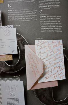 Pretty Pink invitation. Molly Jacques + Sugar Paper in Martha Stewart Weddings.