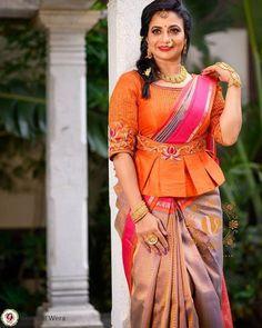Kalamkari Blouse Designs, Silk Saree Blouse Designs, Bridal Blouse Designs, Simple Blouse Designs, Stylish Blouse Design, Saree With Belt, Saree Belt, Set Saree, Blouse Designs Catalogue