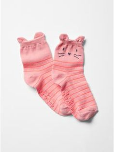 Stripe cat quarter socks