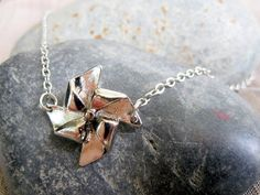 Silver Paper Pinwheel Necklace Windmill by pearlatplay on Etsy, $14.00