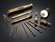 Explorer's Cane - This extremely rare and absolutely complete explorer's cane is the perfect companion for the intrepid adventurer. A small compass is set into the knob handle, while several more instruments are tucked inside the four sections of the shaft including a telescope, drafting compass, level/plumb bob, brass spool of twine and mechanical tools. Seldom are these complex canes found in complete condition.