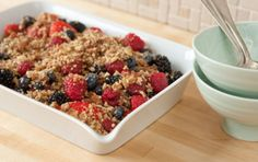 Rich nuts and sweet dates make a tasty topping for mixed berries in this no-cook, vegan version of berry crisp.