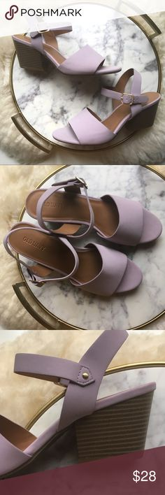 """Pastel Purple Sandal with Stacked Block Heel Classic meets trendy with this sweet purple shoe! Beautiful lavender color is perfect for spring. New without tags, never worn.  Wooden stack heel is 2.75"""". Old Navy Shoes Sandals"""