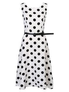 White Contrast Polka Dot Print Belt Waist Skater Dress