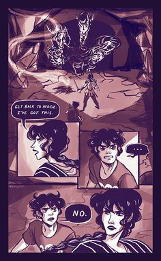 Part 2/3 Nico and Reyna taking the Athena Pathos to Camp Half Blood to unite the Romans and the Greeks! --battling Monsters Comic!!-- (Art by annabethisterrified.tumblr.com :D)