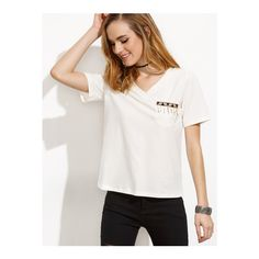 SheIn(sheinside) White Beads Pocket V Neck Short Sleeve T-shirt ($12) ❤ liked on Polyvore featuring tops, t-shirts, white, short sleeve tee, pocket t shirts, short sleeve t shirts, white t shirt and white pocket tee