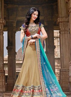 Cream & Turquoise wedding wear Indian lengha style saree with blouse J15443