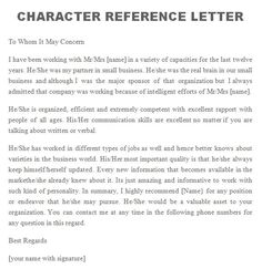 personal letter of recommendation character reference
