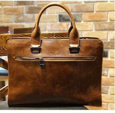 Mens Leather Briefcase Laptop Holder