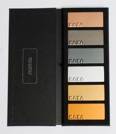 KAZA Concrete Metallic Colour Book Sales Kit, Colour Book, Graphic Design Quotes, Sample Box, Fabric Boxes, Catalog Design, Metal Texture, Tambour, Metallic Colors