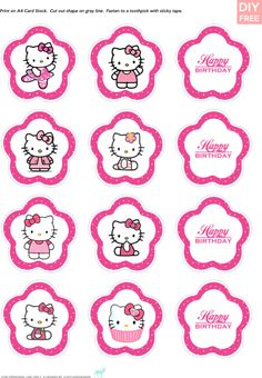 DIY Free Hello Kitty Cupcake Topper - JustLoveDesign (a couple of files are broken) Hello Kitty Theme Party, Hello Kitty Birthday Cake, Hello Kitty Cupcakes, Hello Kitty Baby, Hello Kitty Themes, Cat Cupcakes, Kitty Cake, Ladybug Cupcakes, Snowman Cupcakes