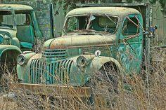 Green Chev truck