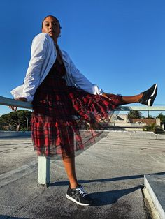 Ready to wear that classic plaid print dress, but without the heels and holiday bows? Style a red plaid dress casually for your next fall event with this. Plaid Fashion, Tomboy Fashion, Autumn Fashion, Plaid Outfits, Plaid Dress, How To Wear Sneakers, Sneak Attack, Fashion Terms, Rebecca James