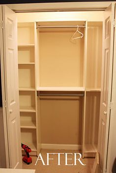 Ikea Billy bookshelf for closets. This is similar to my closet, not sure how accessible the cbbies are behind the doors. I would ppt the cubbies in the middle