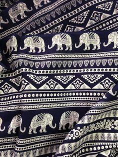 Olifant Print stof, Boho weefsel, alternatieve olifant Print, Dark Navy en wit, Indische katoen, Indische olifant, stof door de yard, folk afdrukken
