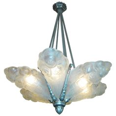 French Art Deco frosted art glass six panel chandelier signed Degue | From a unique collection of antique and modern chandeliers and pendants  at http://www.1stdibs.com/furniture/lighting/chandeliers-pendant-lights/