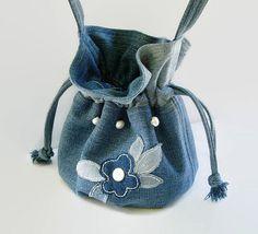 Small Denim Blue Jean Drawstring Purse Small Fabric Pouch