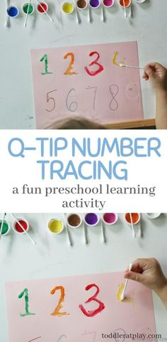 Q-Tip Number Tracing Activity - Toddler at Play - Activities Learn numbers the fun way, with a q-tip! Tracing is fun and using paint is even better! Easy to set up and creates a unique and fun way for education. Preschool Classroom Setup, Preschool Learning Activities, Preschool At Home, Preschool Curriculum, Preschool Lessons, Preschool Crafts, Homeschooling, At Home Toddler Activities, Preschool Schedule