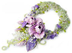 """Купить Колье """"Сны о весне"""" - авторское украшение, колье, ирисы, лиловый, колье с цветами"""