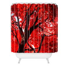Happee Monkee Red Canopy Shower Curtain   DENY Designs Home Accessories  #DENYWISHLIST