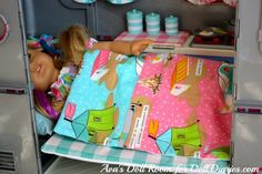 Too cute! How sweet is this doll's blanket made from the Glamping Campers by Moda line. We have it in the online store, and it could make great gifts for summer birthdays for the granddaughters!  From http://dolldiaries.com/lets-go-glamping/
