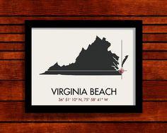 Virginia Beach Latitude Longitude Map Art City by MrCityPrinting, $25.00  Culpeper idea too..