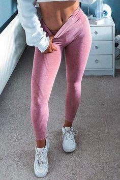 Seamless Long Sleeve T Shirt Leggings Set – myslady Sport Fashion, Fitness Fashion, Activewear Sets, Teen Fashion Outfits, Gym Wear, Colorful Leggings, Persona, Active Wear, Long Sleeve