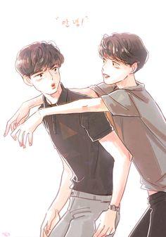 D.O.Baekhyun cr.@laundry_xo Exo Fan Art, Kpop Exo, Kpop Fanart, Kyungsoo, Bigbang, Ph, Laundry, Couple, Drawings