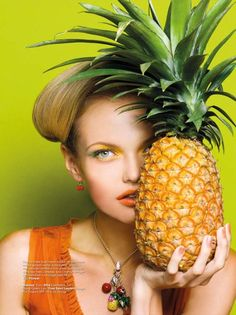 """""""Fruity Loops"""" with orange lipstick and a pineapple. Harper's Bazaar Indonesia - healthy eating inspiration for GLOWLIKEAMOFO.com"""