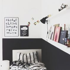 modern black and white kids room with black half painted wall White Bedroom, Teen Bedroom, Bedroom Decor, Bedroom Ideas, Girl Bedrooms, Rooms Decoration, White Kids Room, Deco Kids, Kid Spaces