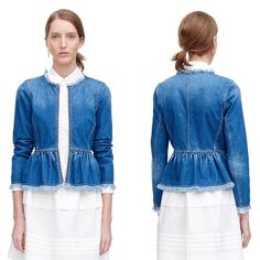 Tailored to perfection and fabulously frayed, this Rebecca Taylor denim jacket focuses on fit with wonderful results. Call #Hartly to order this jacket in your size: 201.664.3111 or email Sales@hartlyfashions.com.