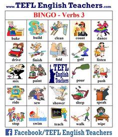 TEFL English Teachers - BINGO Verbs game board 3 of 20
